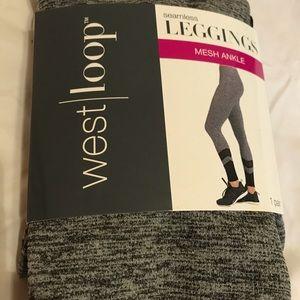 NWT gray leggings with black mesh